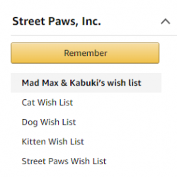 Street Paws Amazon Wish List